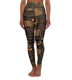 African Pattern High Waisted Yoga Leggings