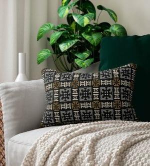 Egyptian Pattern Spun Polyester Lumbar Pillow