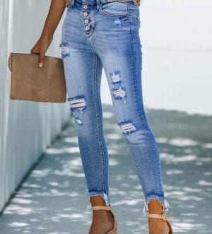 Fashion Blue High Rise Button Front Frayed Ankle Skinny Jeans