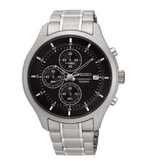 Seiko SKS539 Silver Stainless Steel Black Dial Men's Chronograph Watch