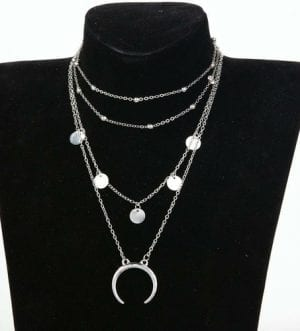 Crescent Horn Moon Layered Necklace