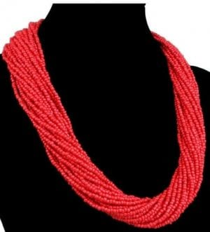 African multi layered Red Beaded Maasai Necklace.