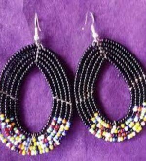 Maasai Beaded Earrings Black African handcrafted earrings