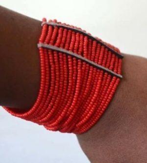 Maasai African Beaded Cuff Spiral arm Bracelet,