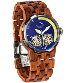 Men's Dual Wheel Automatic Kosso Wood Watch